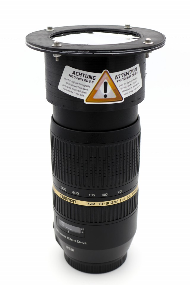 Solar Filter Holder on Lens